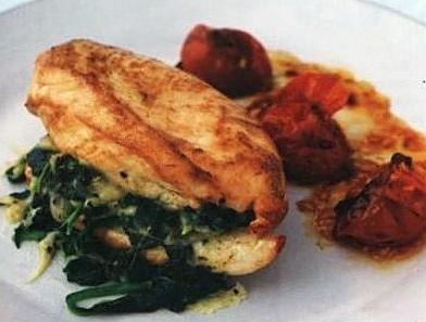 Курица на пару с грибами, шпинатом и сыром