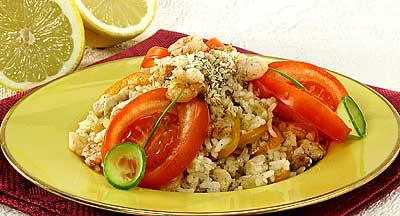 Наси горен - жареный рис с мясом и крабами
