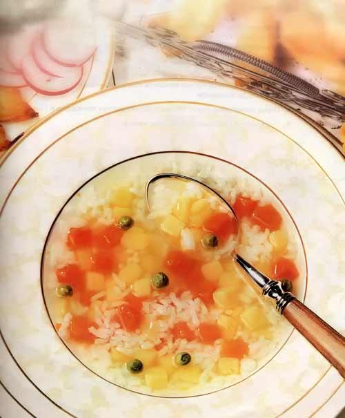 Суп рисовый с зеленью