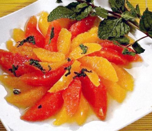 Десерт из апельсинов и грейпфрутов