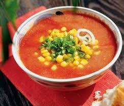 Холодный томатный суп с кукурузой