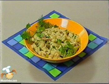 Видео рецепт от Бориса Бурды. Салат из вареной говядины